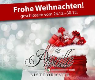 Weihnachten 23.–26.12. geschlossen!